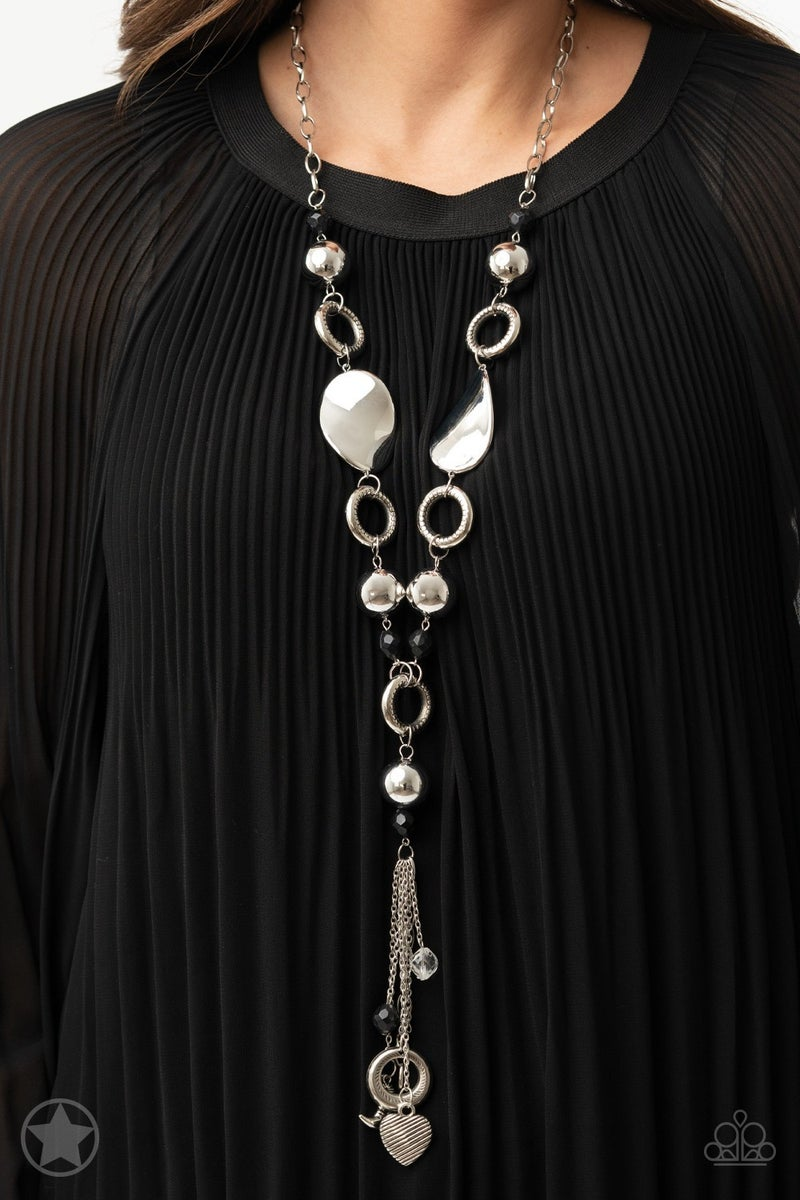 Paparazzi Total Eclipse Of the Heart - Black - Necklace & Earrings - Blockbuster Exclusive
