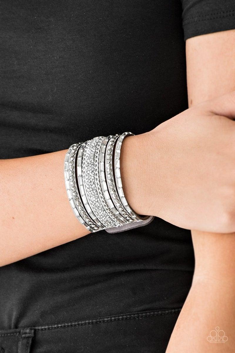 Rhinestone Rumble Silver Bracelet