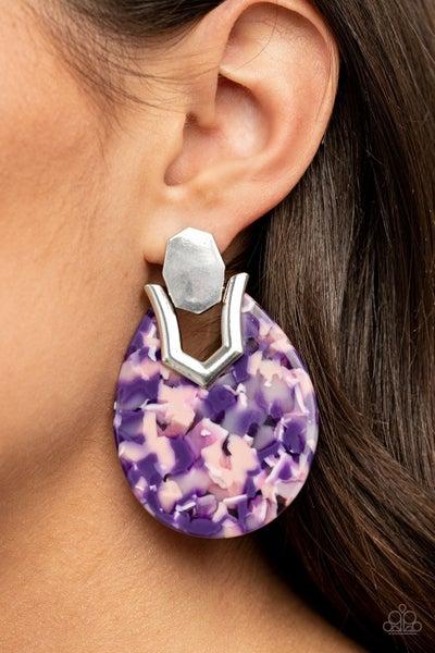 Haute Flash Purple Post Earring