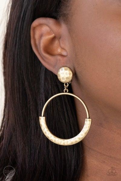 Rustic Horizons Brass Clip-On Earrings