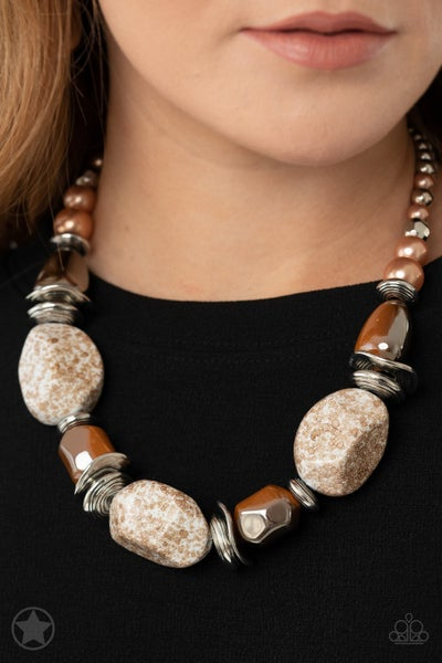 In Good Glazes Peach Brown Necklace - Sparkle with Suzanna