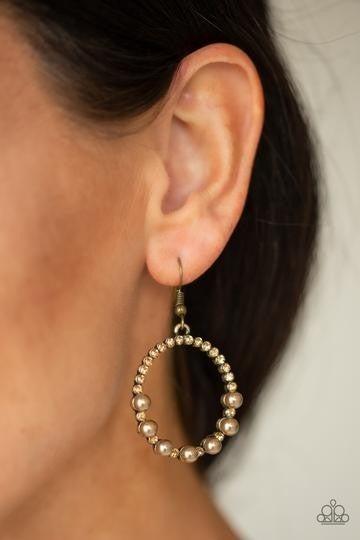 Glowing Grandeur Brass Earring