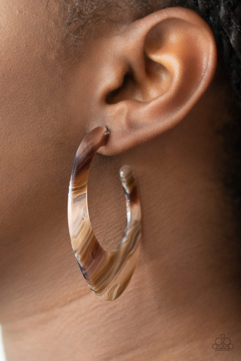 Retro Renaissance Brown Hoop Earring - Sparkle with Suzanna