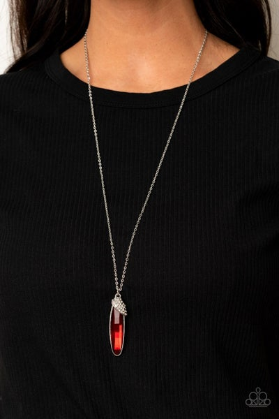 Spontaneous Sparkle Red Necklace
