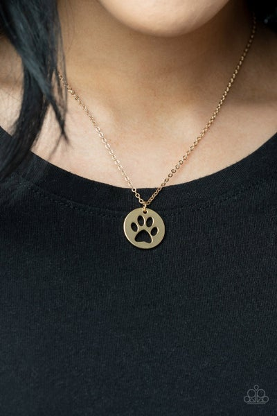 Think PAW-sitive Gold Necklace - PREORDER