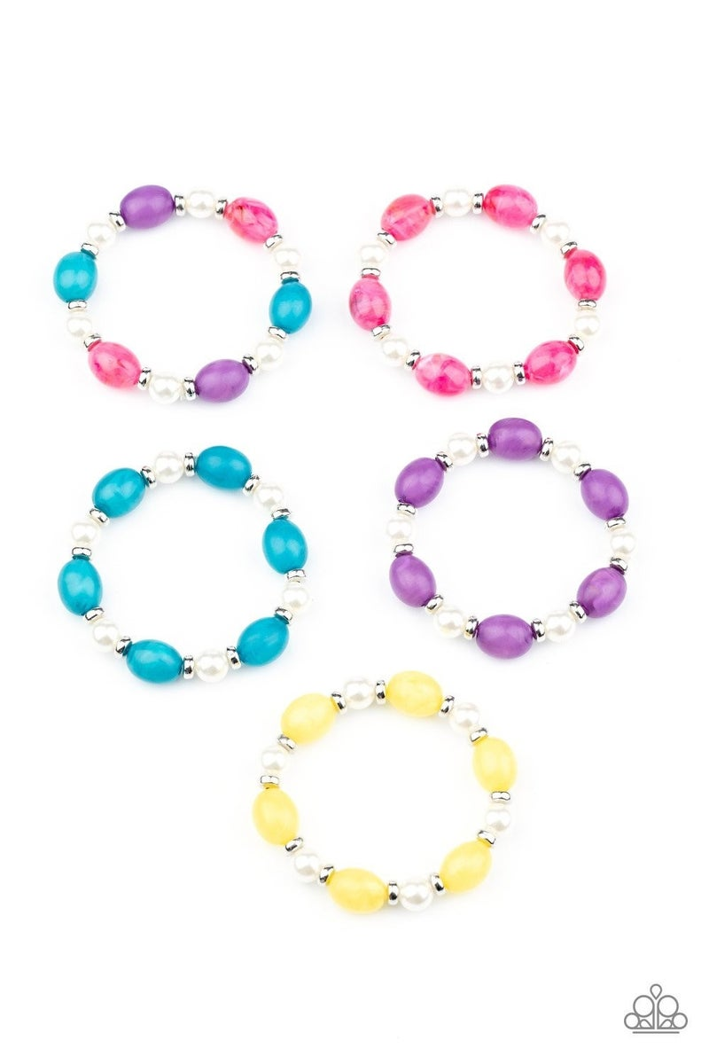 STARLET SHIMMER COLORFUL BEADS AND WHITE PEARL BRACELETS