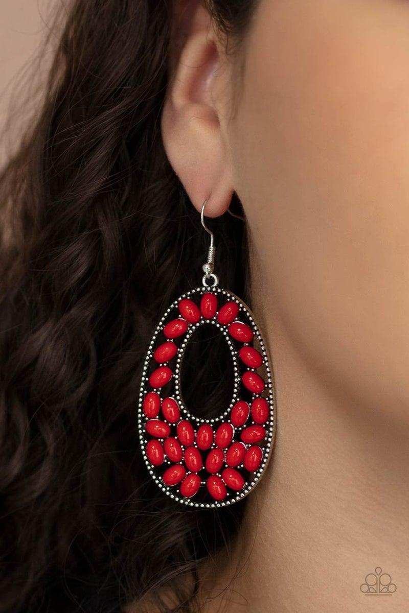 Beaded Shores Red Earring