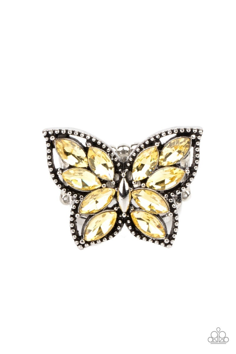 Fluttering Fashionista Yellow Ring - Sparkle with Suzanna