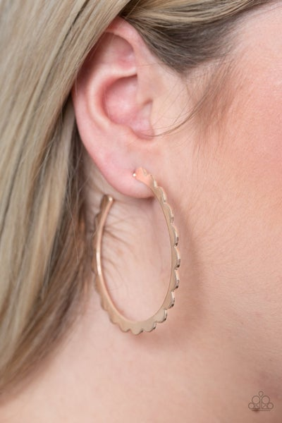 Radiant Ridges Rose Gold Hoop Earring