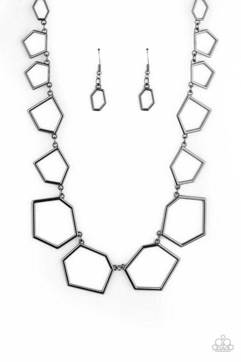 Full Frame Fashion Gun Metal Necklace