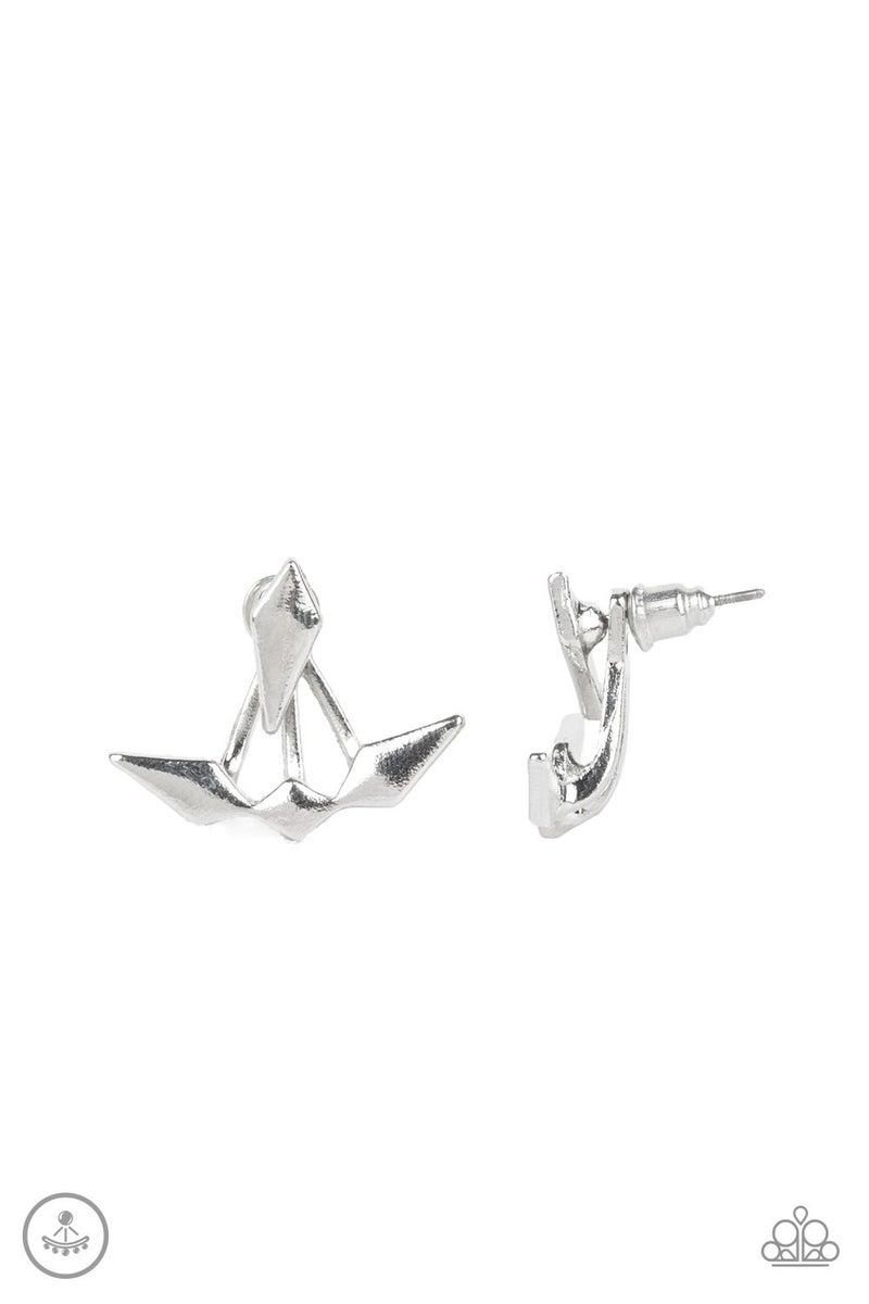 Metal Origami Silver Jacket Earring