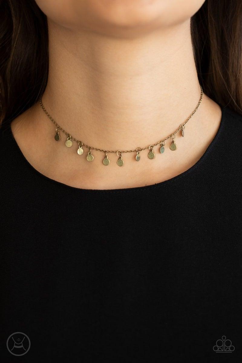 Ready, Set, DISCO Brass Choker Necklace