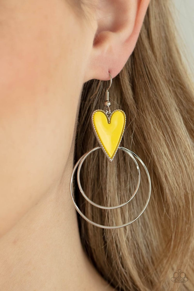 Happily Ever Hearts Yellow Earrings
