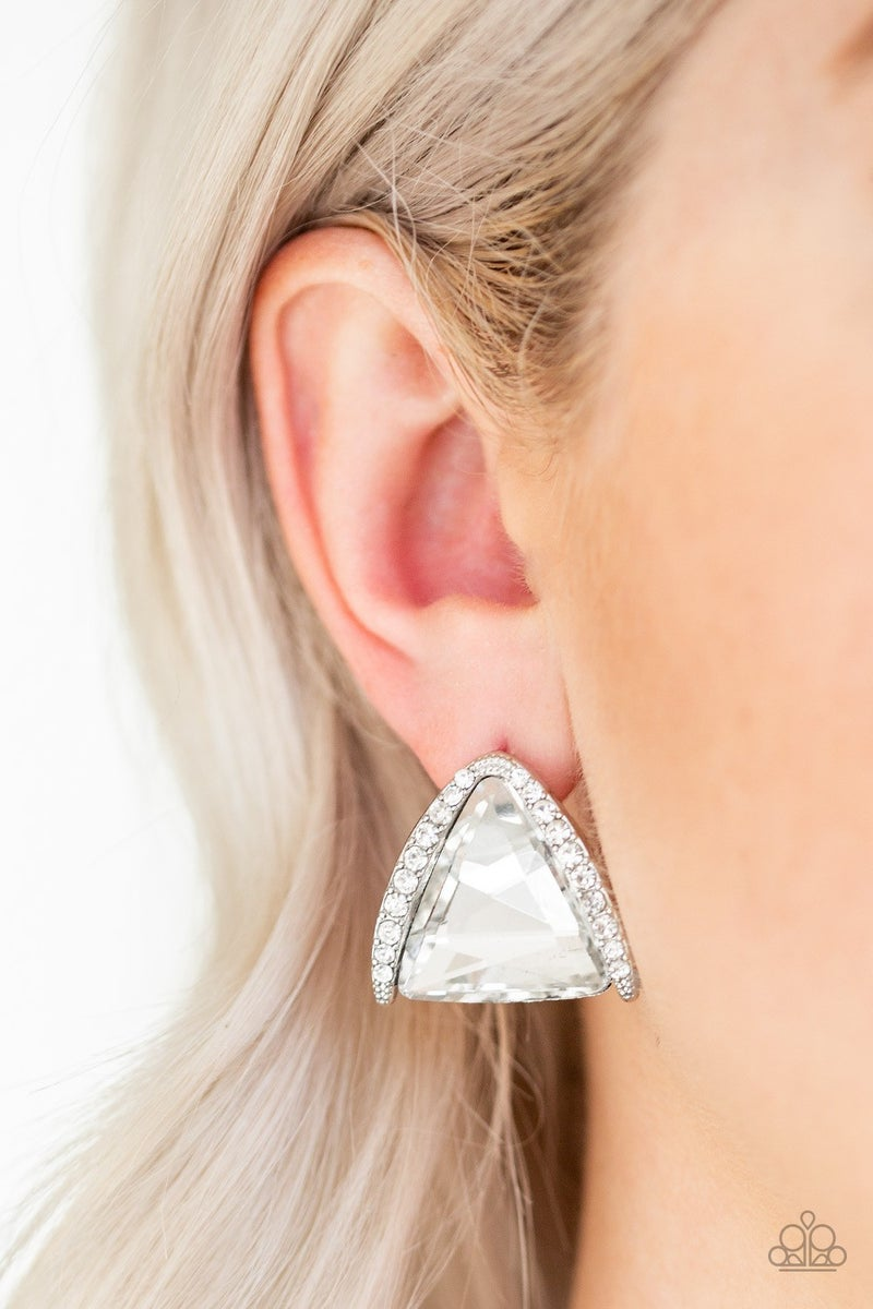 Exalted Elegance White Post Earring - Sparkle with Suzanna