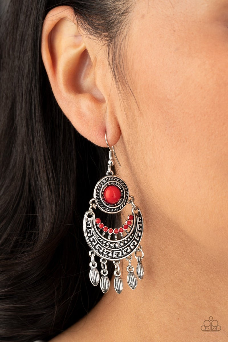 Mantra To Mantra Red Earring