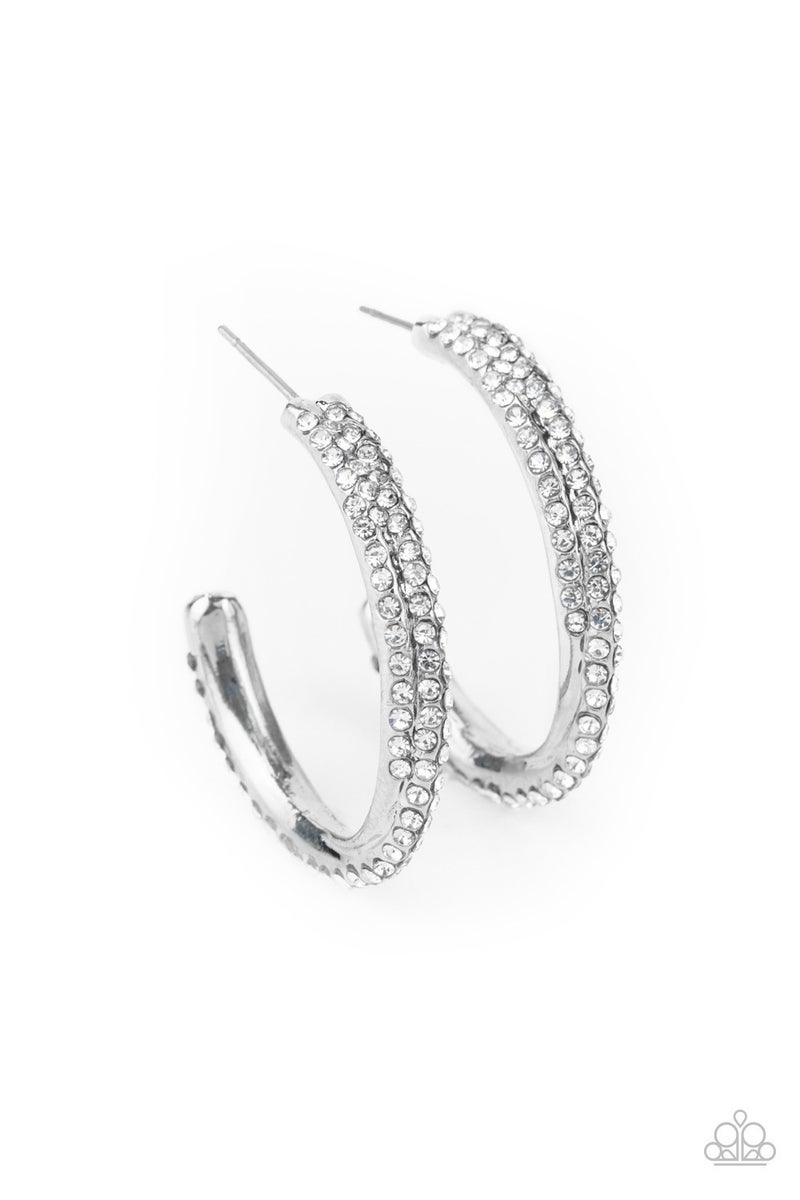 Trail of Twinkle White Hoop Earring - Sparkle with Suzanna