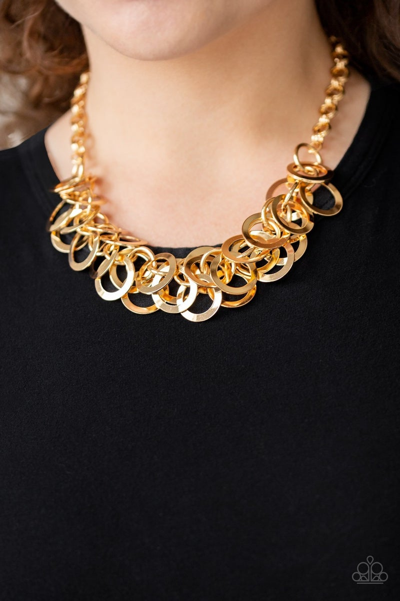 Ringing In The Bling Gold Necklace