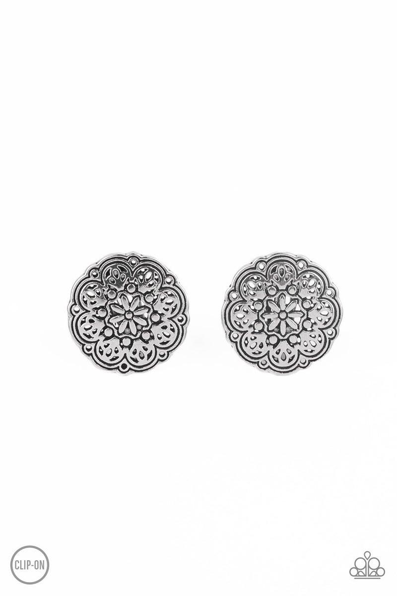 Mandala Harvest Silver Clip-On Earrings