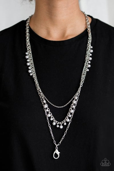 Pearl Pageant Silver Lanyard
