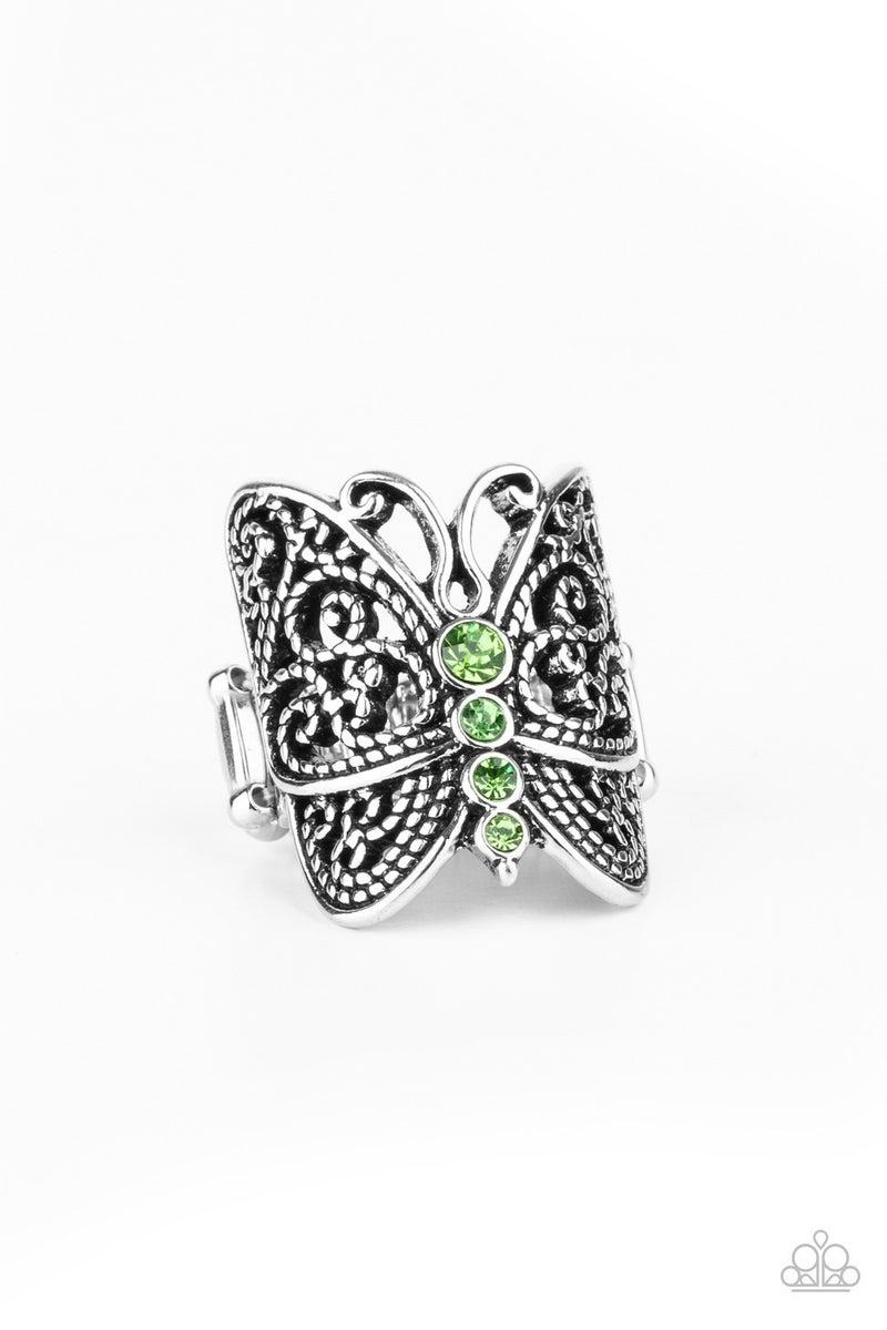Butterfly Bling - Green Ring