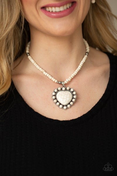 A Heart of Stone  White Necklace