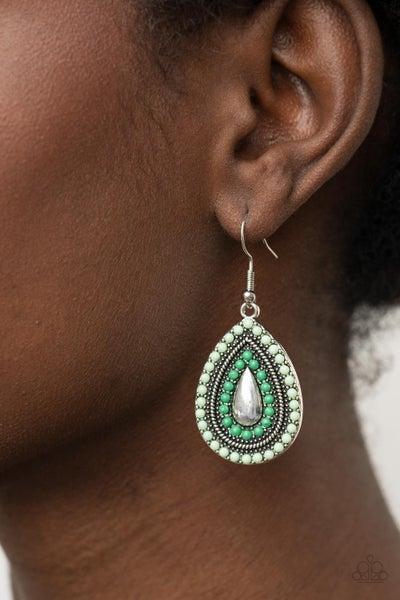 Beaded Bonanza Green Earring