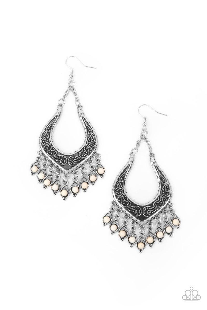 Sahara Fiesta White Earring - Sparkle with Suzanna