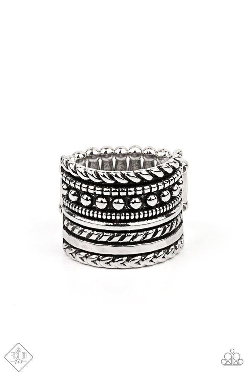 Stacked Odds Silver Ring