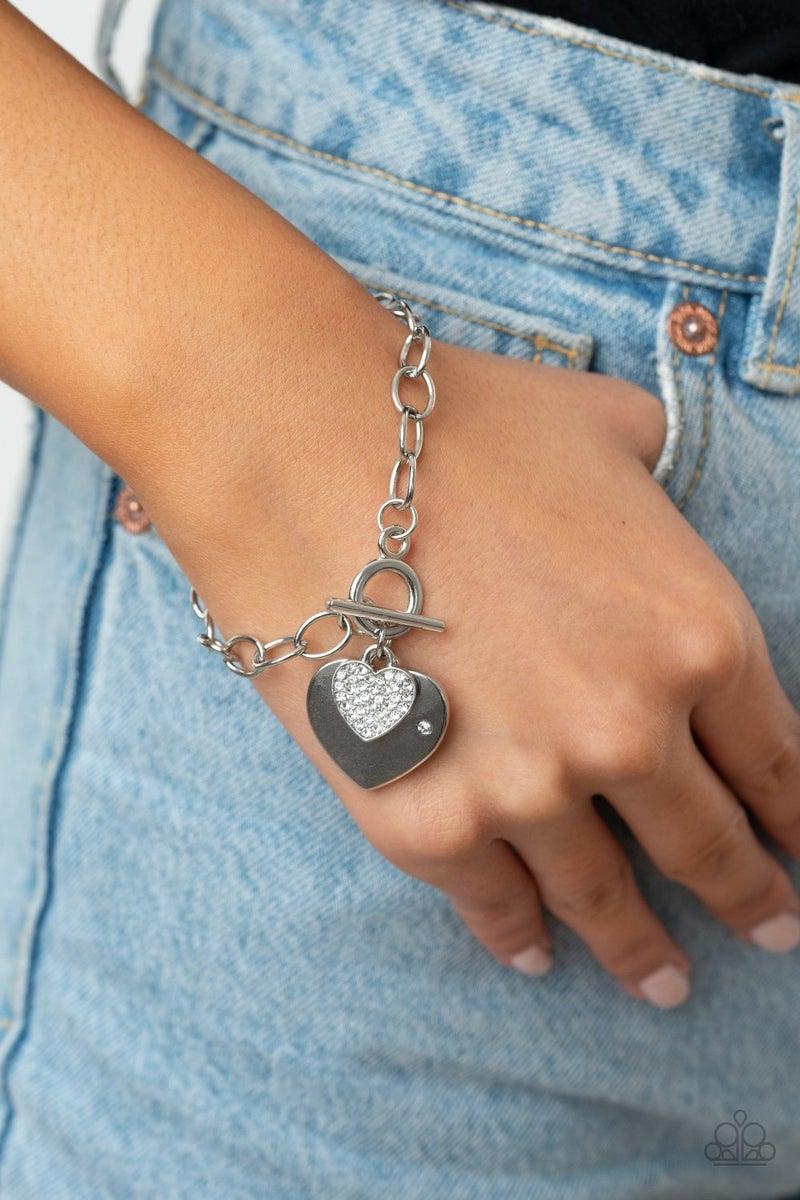 Heartbeat Bedazzle White Bracelet
