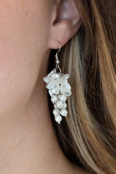 Bountiful Bouquets White Pearl Earring