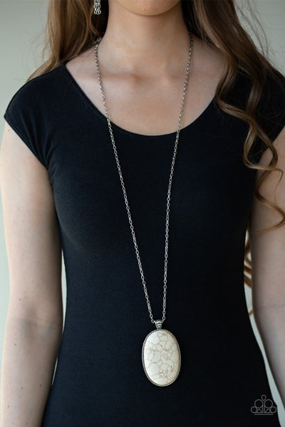 Stone Stampede White Necklace