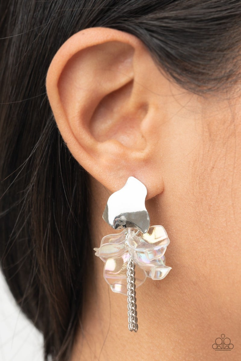 Harmonically Holographic White Earring