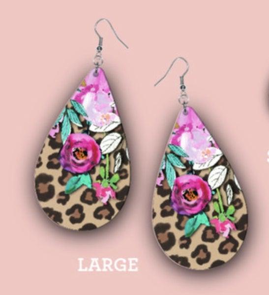 Floral Leopard Drop Earrings