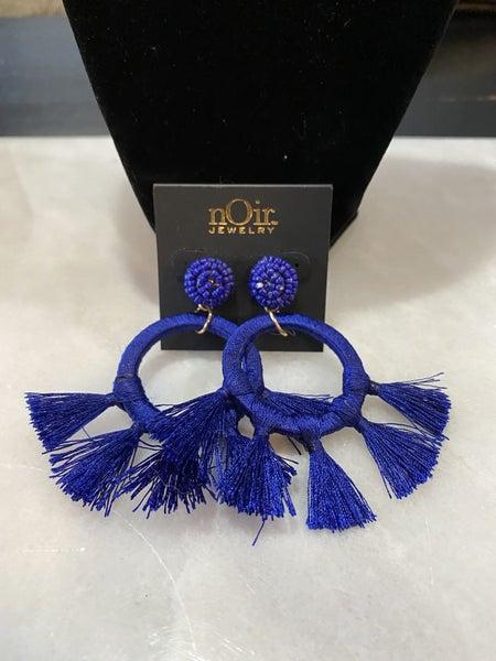 Navy Circle Earrings
