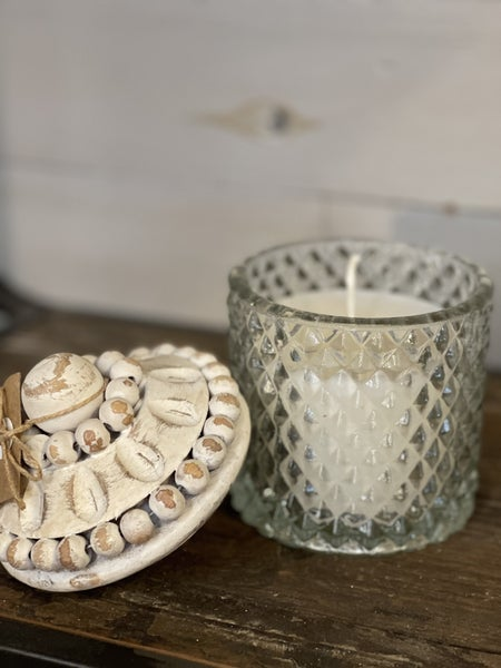 TICKING WHITE BEADED CANDLE