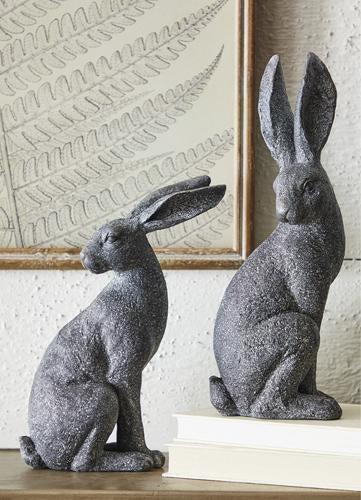 Black Stone Rabbit Looking Sideways