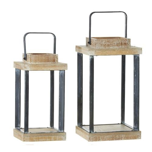 "LG 13"" Metal and Wood Lantern"