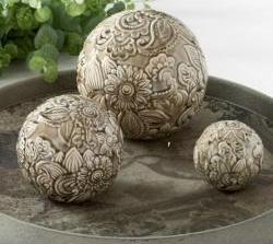 7 Inch Gray Ceramic Art Deco Style Tabletop Sphere