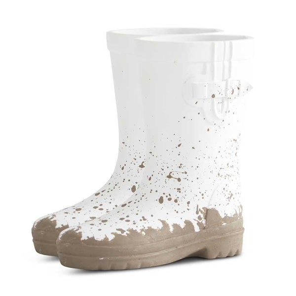 10 Inch Resin Pair of White Rainboots