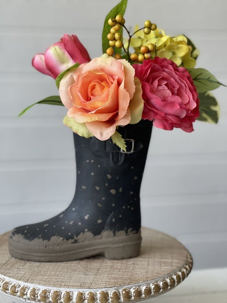 Black Rain-boot Vase with Spring Flowers