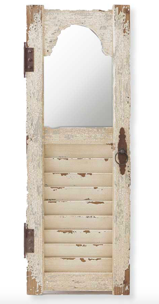 """43.5"""" Distressed White Wood Shutter Panel w/Inset Mirror"""