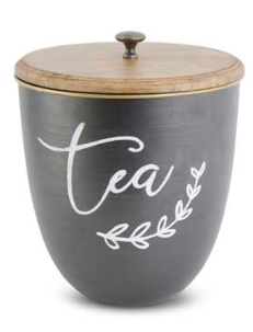 Black Metal w/White Script TEA Lidded Container