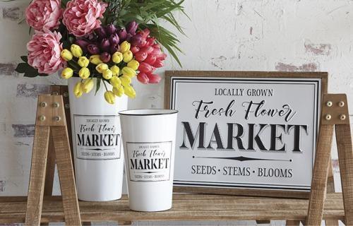 """22"""" Flower Market Embossed Metal Framed Sign"""