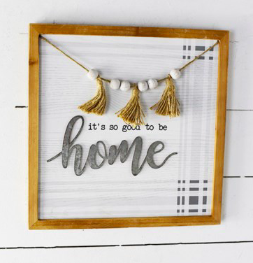 """16"""" HOME SIGN WITH PLAID"""