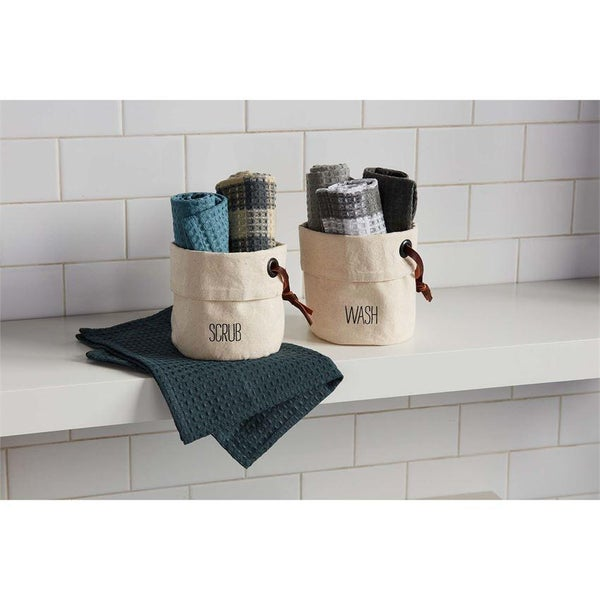 WASH TOWELS IN CANVAS HOLDER
