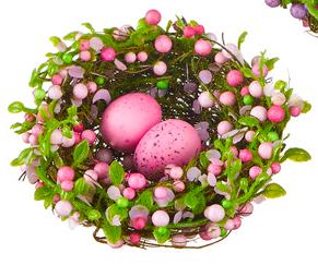 PINK BERRY NEST WITH EGGS
