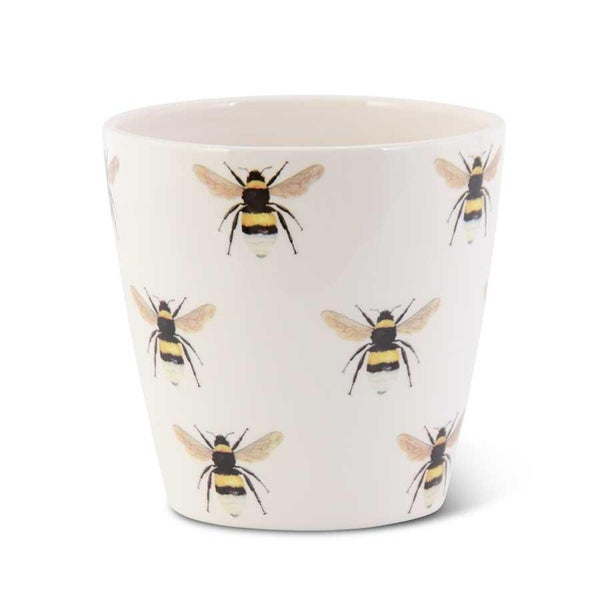 White Ceramic Pot w/Bee Decals