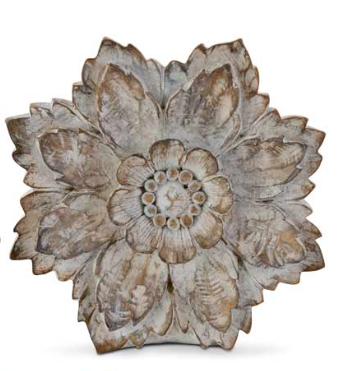 6.5 Inch White Wash Carved Resin Tabletop Flower