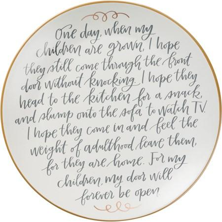 Memory Plate - For My Children Door Will Forever