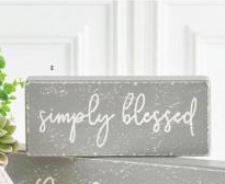 Black & Gray SIMPLY BLESSED Wood Sign
